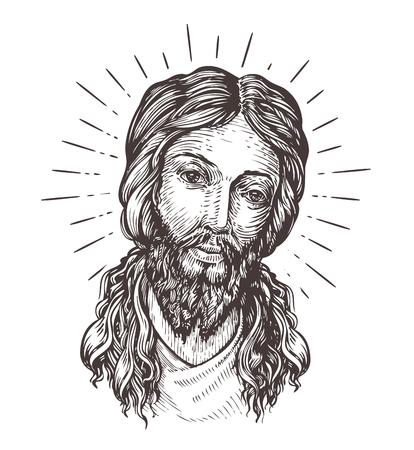 kruzifix: Von Hand gezeichnet Porträt von Jesus Christus. Skizze Vektor-Illustration isoliert auf weißem Hintergrund
