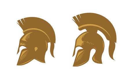 Ancient spartan helmet with feathered crest. Vector icons or symbols isolated on white background Illustration