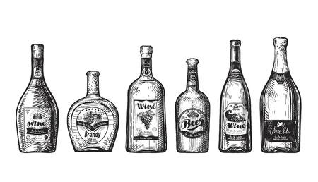 boozer: Set bottles for bar. Alcoholic beverages, drink such as wine, beer, brandy, champagne, whiskey, vodka Sketch vector illustration