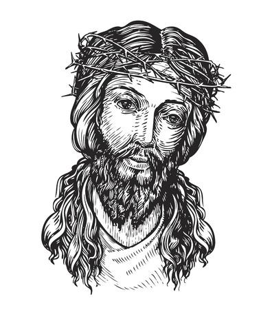 kruzifix: Jesus Christus mit Dornenkranz. Skizze Vektor-Illustration