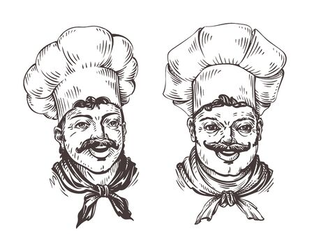 Drawn chef cooks on white background in style of engravings. Vector illustration isolated on white background