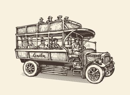 Hand-drawn London city bus. Vintage sketch vector illustration
