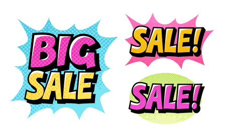 sale icons: Big Sale set icons. Comic text pop art style vector isolated on white background