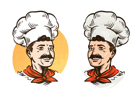 Happy mustached chef in hat. Vector illustration isolated on white background Illustration