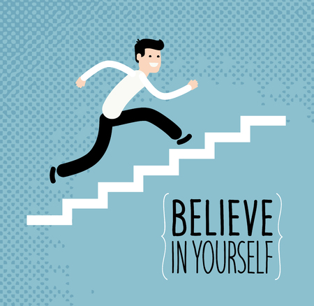 undergraduate: Business or education concept. Businessman running up stairs. Vector illustration Illustration