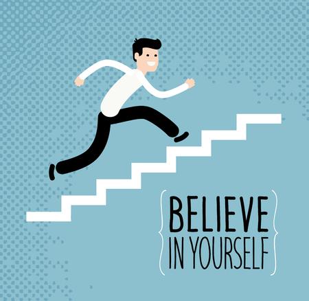 Concetto di affari o di istruzione. Uomo d'affari che corre su scale. Illustrazione vettoriale