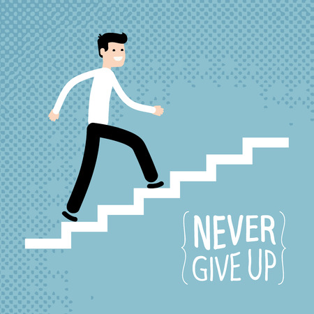 motivator: Success in business. Businessman climbs up stairs. Vector