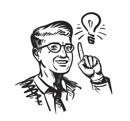 pointing hand: Idea concept with man and lightbulb. Retro sketch vector illustration isolated on white background Illustration
