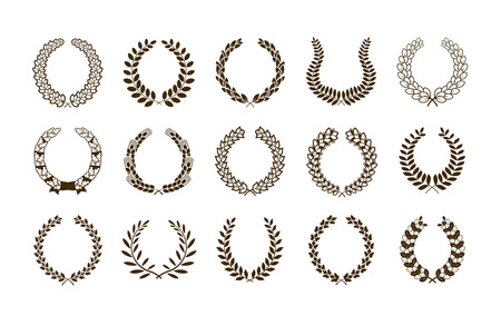 elite sport: Laurel wreath set symbols or icons. Vector heraldic element collection and coat of arms isolated on white background