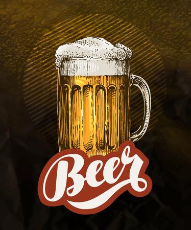 Fresh craft beer. Vintage poster for cold ale. Vector illustration