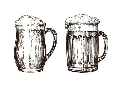 Hand drawn beer mug. Elements for design menu restaurant or pub. Sketch vector illustration isolated on white background