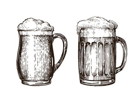 Hand drawn beer mug. Elements for design menu restaurant or pub. Sketch vector illustration isolated on white background