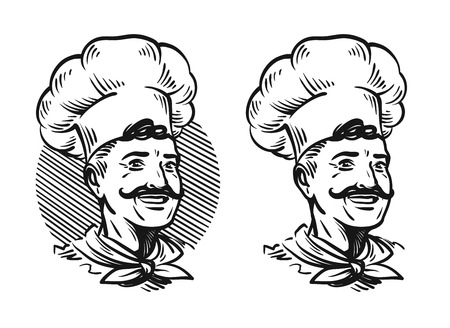 human face: Portrait of happy chef. Element for design menu restaurant or cafe. Sketch vector illustration isolated on white background