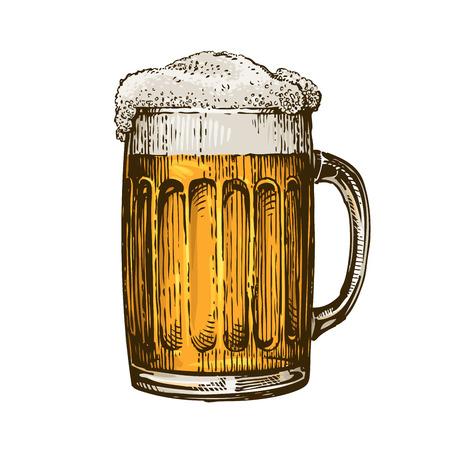 Cerveza en taza de vidrio con espuma. Ilustración de vector dibujado a mano aislada sobre fondo blanco