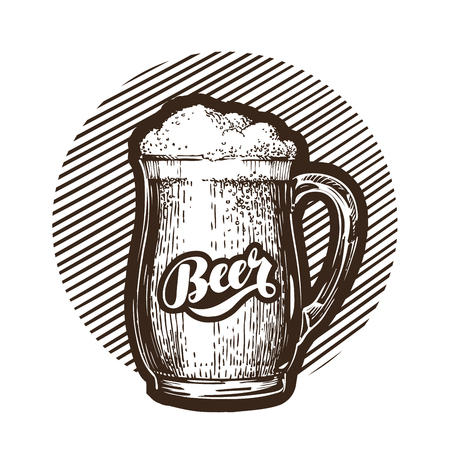 boozer: Mug of beer symbol. Cold and fresh ale icon. Vector illustration isolated on white background