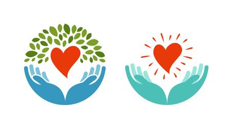 insignias: Amor, ecología, icono de medio ambiente. La salud, la medicina o la oncología símbolo aisladas sobre fondo blanco