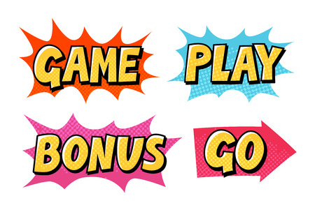 Comic text vector icons. Lettering such as Game, Play, Go, Bonus isolated on white background