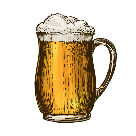 Beer, ale, lager. Element of menu restaurant or pub. Vector illustration isolated on white background
