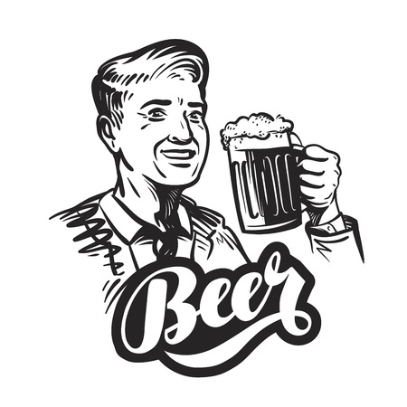 boozer: Beer or pub. Happy smiling man with mug of fresh ale. Vector illustration isolated on white background Illustration