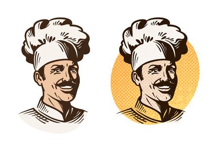 Kucharz, piekarz, kucharz symbol. Gotowanie, restauracji lub kawiarni. Ilustracja wektora samodzielnie na białym tle