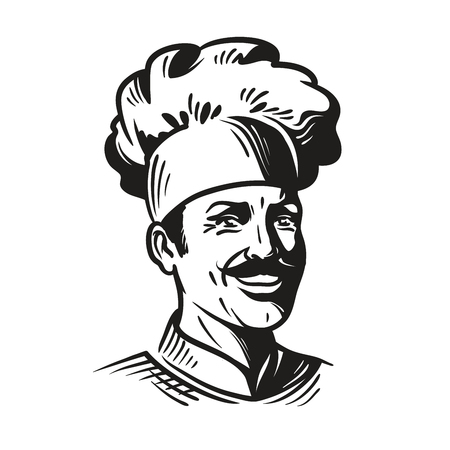 Portrait happy chef in hat and mustache. Smiling cook man. Vector illustration isolated on white background