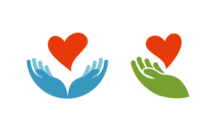caring hands: Heart in hand symbol or icon. Logo template for charity, health. Vector illustration isolated on white background