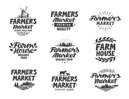 Farmers market. Farm, farming icons set Stock Illustratie