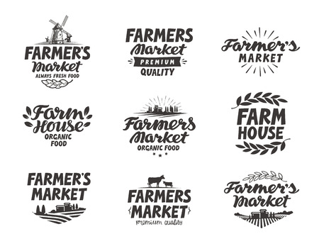 Farmers market. Farm, farming icons set Vectores