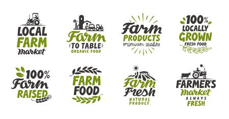 arable: Farm icons set. natural, organic food. Symbol vector illustration