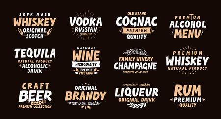 boozer: Alcoholic drink. Collection labels for menu design restaurant or bar