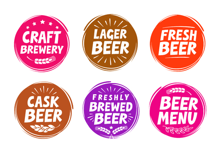draught: Vector set colorful labels for beer, pub. Collection icons