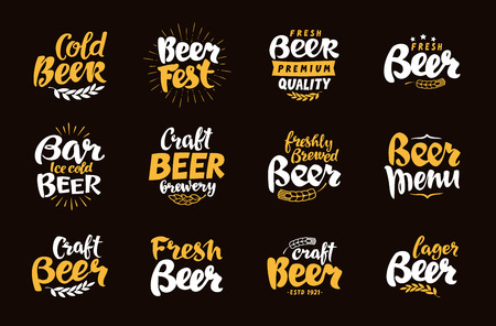 Beer Label and Logos. Lettering vector illustration Çizim