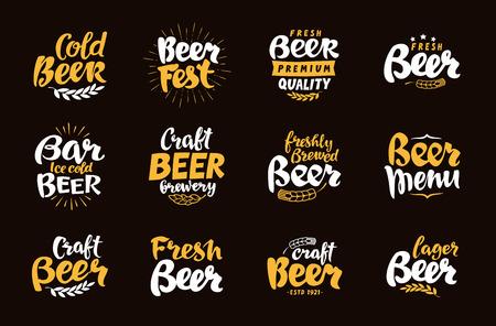Piwo etykieta i logo. Ilustracji wektorowych litery