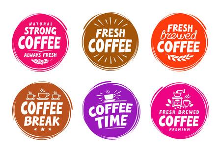 Vector set colorful labels for coffee, drink. Collection icons Illustration
