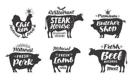 bighorn: Farm animals icons set. Collection of labels with beautiful letterings such as chicken, beef, pork, lamb, butcher shop, steak house. Vector illustration Illustration