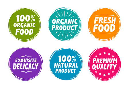 manjar: Símbolos de la colección, como producto natural y orgánico, alimentos frescos, exquisita delicadeza, de primera calidad. ilustración vectorial iconos