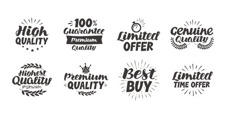 limited time: Business set icons or symbols. Hand-drawn beautiful lettering highest quality, premium, limited time offer, guarantee, best buy, genuine. Vector illustration