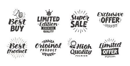 sale icons: Business, shopping vector set icons. Lettering best product, super sale, exclusive offer, high quality, original, limited edition