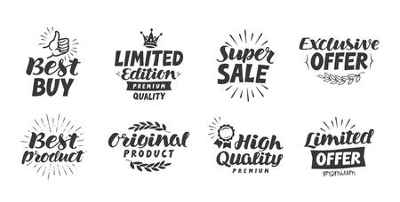 luxo: Negócios, compras vector set ícones. Lettering melhor produto, super venda, oferta exclusiva, de alta qualidade, original, edição limitada