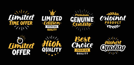 best offer: Vector set business labels, icons. Lettering limited time offer, Edition, Genuine, Original product, High quality, Best choice, Premium