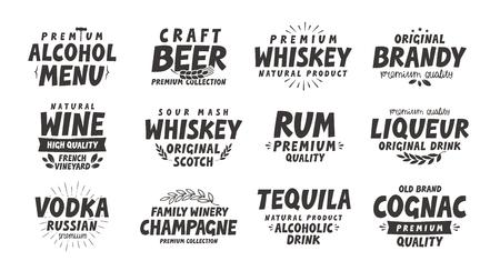 Menu, alcoholic drinks. Vector labels wine, beer, whiskey, brandy, rum, liqueur, vodka, tequila, cognac, champagne