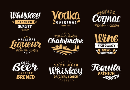 liqueur: Menu bar, icons set. Labels of alcoholic drinks such as whiskey, vodka, wine, liqueur, champagne, beer, tequila, cognac. Symbols, vector illustration Illustration