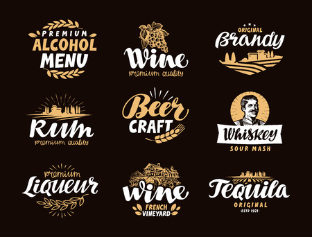 liqueur: Menu bar, icons set. Labels of alcoholic drinks such as wine, brandy, rum, craft beer, whiskey, liqueur, tequila. Symbols, vector illustration Illustration