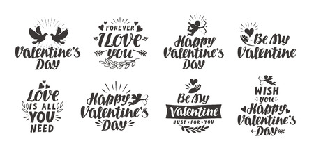 s day: Valentine s day set labels, icons and decorative elements. Vector illustration