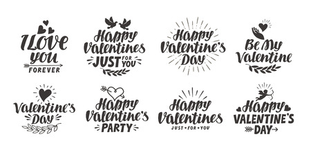 happy valentine s day: Happy Valentine s day. Collection beautiful labels for decoration of greeting card. Vector illustration