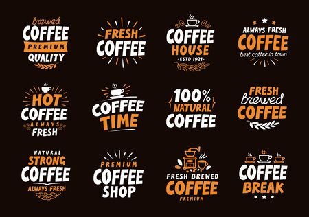 Coffee logo. Vector labels and icons. Collection elements for menu design restaurant or cafe