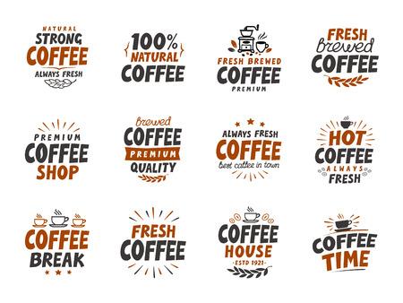 arabica: Set of vector coffee elements. symbols for menu design restaurant or cafe