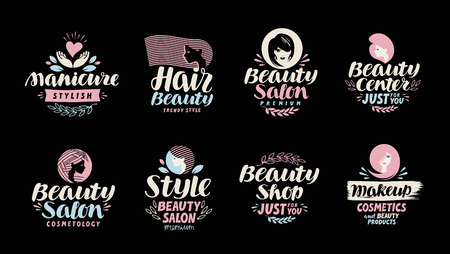 Beauty shop, salon, cosmetic or makeup logo. Handwritten in a beautiful calligraphic text, lettering. Label vector illustration