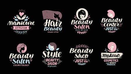 Magasin de beauté, salon, logo cosmétique ou maquillage. Handwritten dans un beau calligraphique texte, lettrage. Étiquette illustration vectorielle Banque d'images - 69809285