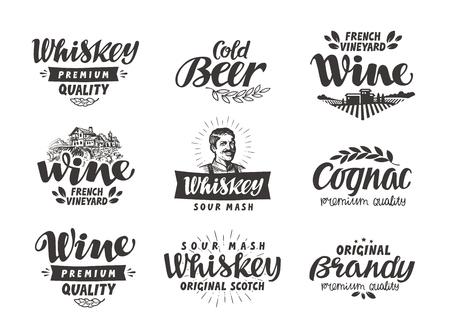 bebidas alcohÓlicas: De menú, las bebidas alcohólicas. Vector de etiquetas de vino, cerveza, whisky, brandy, coñac